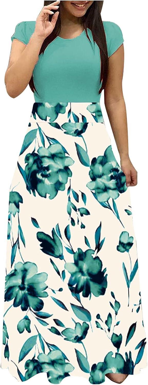 Smooto Women's Summer Indepence Day Dress High Waist Elastic Beach Maxi Dress