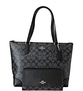 New Coach C Signature Purse Hand Bag Tote & Wallet Matching 2 Piece Set Black
