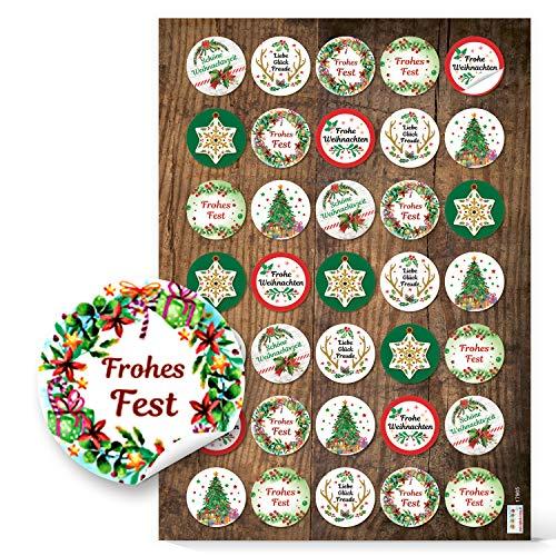 Logboek-uitgeverij kleine ronde kerststickers rood groen 3,2 cm Vrolijk Kerstmis sticker etiketten cadeausticker verpakking geschenken kerstmis 35 Stück