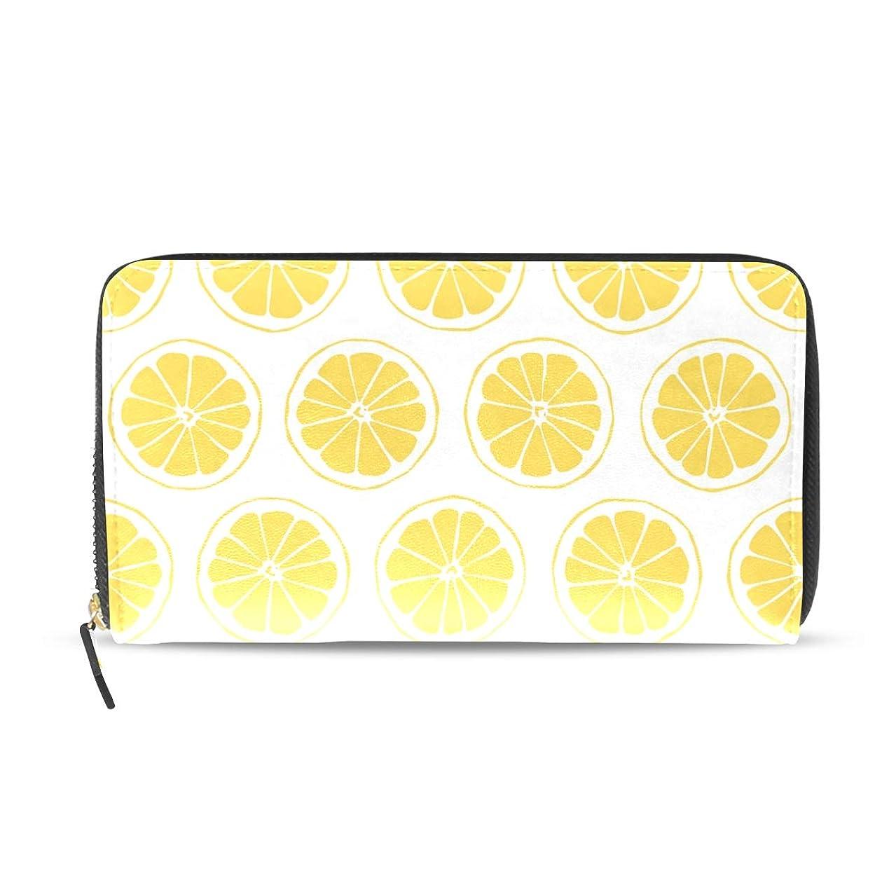 愛人ボタン入力マキク(MAKIKU) 財布 レディース 長財布 本革 大容量 レモン柄 果物 プレゼント対応