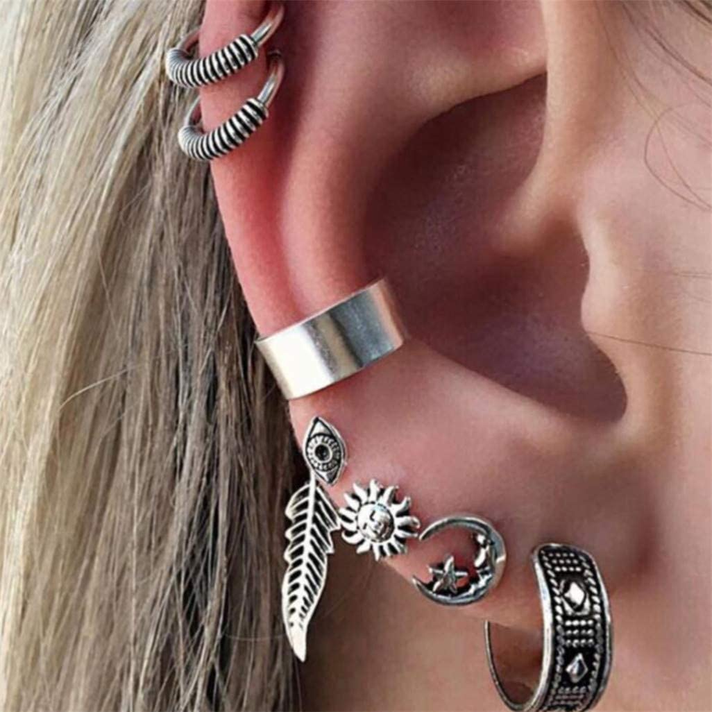 WEILYDF 7 Translated Pcs Set Bohemian Vintage Gla Leaf Moon Sun Today's only Earring