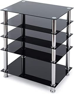 TAVR 5-Tier Media Compontent TV Stand Audio Video Tower with Black Tempered Glass Shevles for Xbox, Gaming Consoles, Cable Boxes, HiFi Stereo Equipment, Top Glass 88 Lbs Capacity, Black