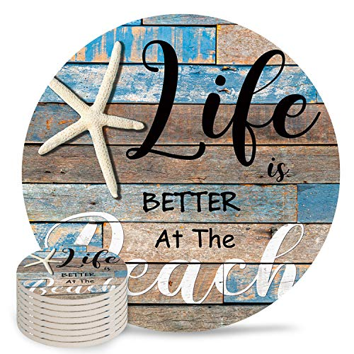 8-Piece Set Ceramic Coasters for Drinks,Marine Life Starfish Beach Life Is Better at The Beach Rustic Wood Grain Unique Absorbent Round Ceramics Cork Backed Cup Mat for Home/Housewarming Gift