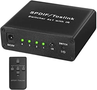 Miss flora Optical series .NK-S41 Full HD SPDIF/Toslink Digital Optical Audio 4 x 1 Switcher Extender with IR Remote Controller