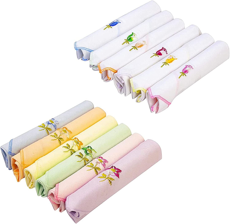 Kalagiri Women's Cotton Handkerchiefs (White and Multicolour, Medium) -2 x Pack of 6 =Total 12 Hankies