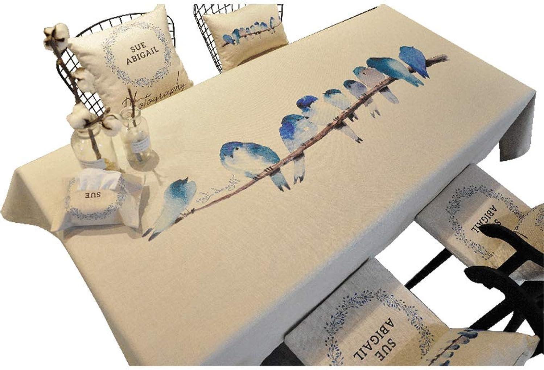 Nappe Tissu Coton Et Lin Tissu Imperméable à L'eau Tissu Simple Moderne Rectangulaire Petit Tapis De Table Frais,110  170CM
