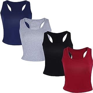 4 Pieces Women's Basic Crop Tops Sport Cotton Tank Tops Racerback Sleeveless Top Sleep Bra, 4 Colors