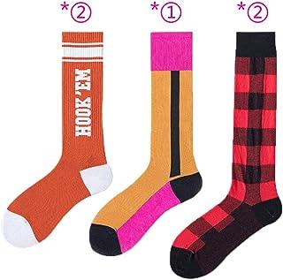 Httzhongchuang, Httzhongchuang Calcetines de Moda para pantorrillas, Calcetines de Contraste con Pata de Gallo para Mujer, Calcetines Largos y Altos Calcetines de Moda para Mujer, 5 Piezas, combinación B, 5 Pares