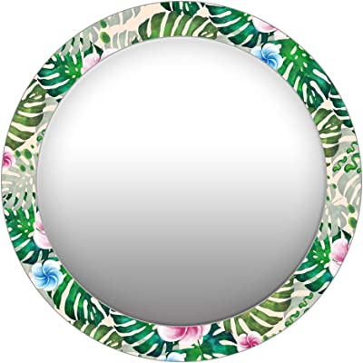 999Store Printed Green Leaves and Flowers Pattern Round Mirror (MDF_17X17 Inch_Multi)