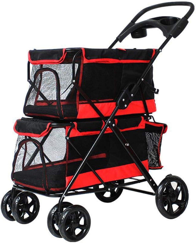 Axiba Pet Stroller Dog doubledecker pet car portability Pet Supplies