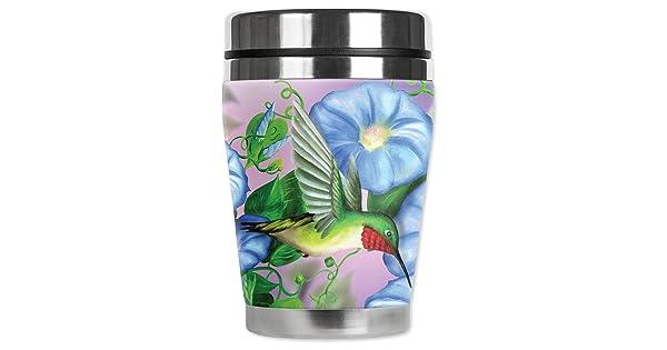 Mugzie Hummingbird /& FlowersMini Travel Mug with Insulated Wetsuit Cover 12 oz Black