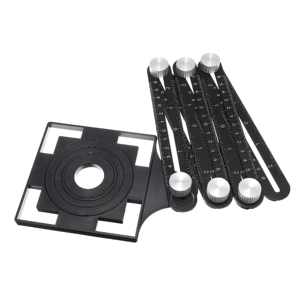 Jingshengxin Aluminum Alloy Adjustable Six Fold hole locator set Tool Ruler Drill Guide Opening Ceramic Tile Hole Locator Set