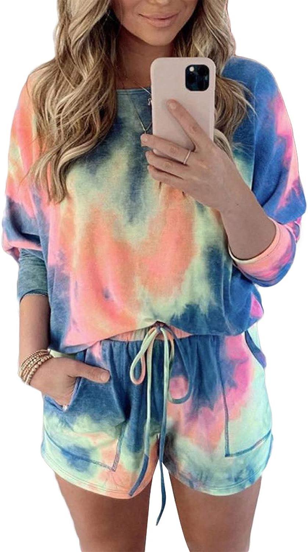 Springcmy Womens Tie Dye Printed Ruffle Short Lounge Set Long Sleeve Tops and Drawstring Shorts 2 Piece Pajamas Set Sleepwear