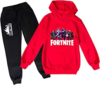 Boy and Girls Fortnite Pullover Hoodies and Sweatpants Suit Teen Hooded Sweatshirt Suit For Kids