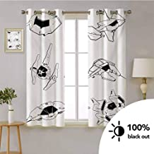 Galaxy -Window Treatment Grommet Curtain Panel Spaceships Future Space Forces Fantastic Fiction Galaxy Clash Themed Pattern -Window Treatments for Bedroom W72 x L45 Inch Black and White
