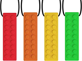 NIROLLE Sensory Chew Necklace Pendant Chewlery Set for Boys and Girls 4 Colors Set