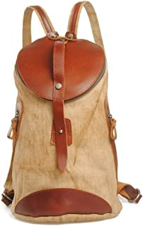Coffee Hemp and Leather Cylinders Men's Backpack Large Capacity Casual Suitable for Travel Shopping (Color : Brown, Size : S)