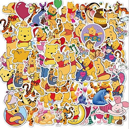 XIAMU Pegatinas de Winnie The Pooh, monopatín Impermeable, Maleta de Viaje, teléfono, portátil, Equipaje, Pegatinas, Lindos Juguetes para niños y niñas, 50 Uds.