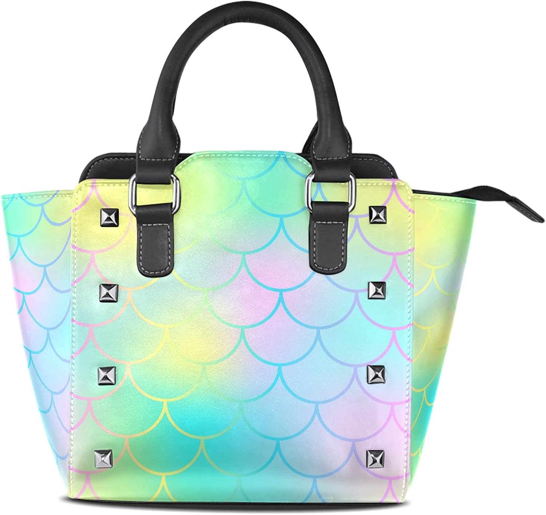 My Little Nest Women's Top Handle Satchel Handbag Fantastic Mermaid Fish Skin Ladies PU Leather Shoulder Bag Crossbody Bag