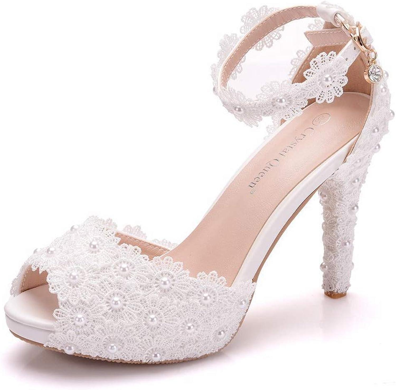 Braut Hochzeit Schuhe Frauen Peep Toe High High Heels Schnallen Party Prom Spitze Sandalen  modisch