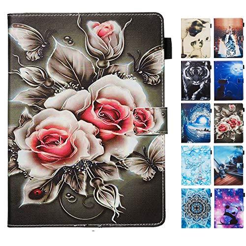 Rose-Otter Handyhülle für Huawei MediaPad M3 Lite 10 Zoll Hülle Tablet Leder PU Flip Hülle Kartenfach Klappbar Schutzhülle Tasche mit Muster Rose Schwarz