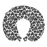 ABAKUHAUS Garabatear Cojín de Viaje para Soporte de Cuello, Modelo de los Corazones románticos, Cómoda y Práctica Funda Removible Lavable, 30x30 cm, Blanco Negro
