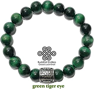 Feng Shui Endless Infinity Knot Buddhist Bracelet   HAPPY LIFE   Green Tiger Eye   Meditation Self-Care Mantra Wristband Yoga Spiritual Jewelry