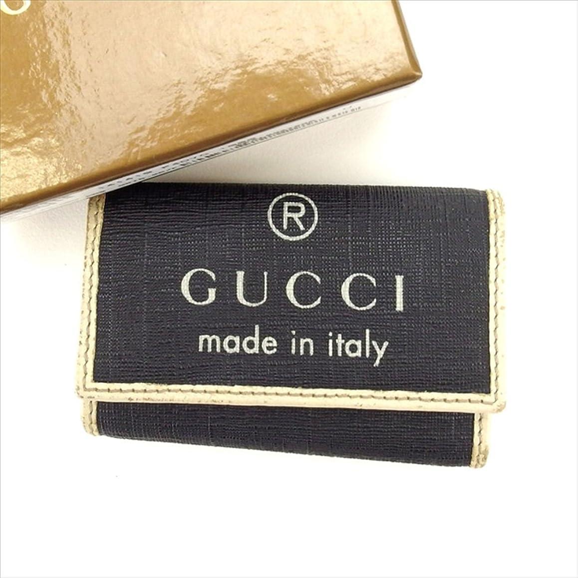 着陸戸惑う喜劇(グッチ) Gucci キーケース 6連キーケース ブラック×ホワイト系 ロゴ レディース 中古 L401