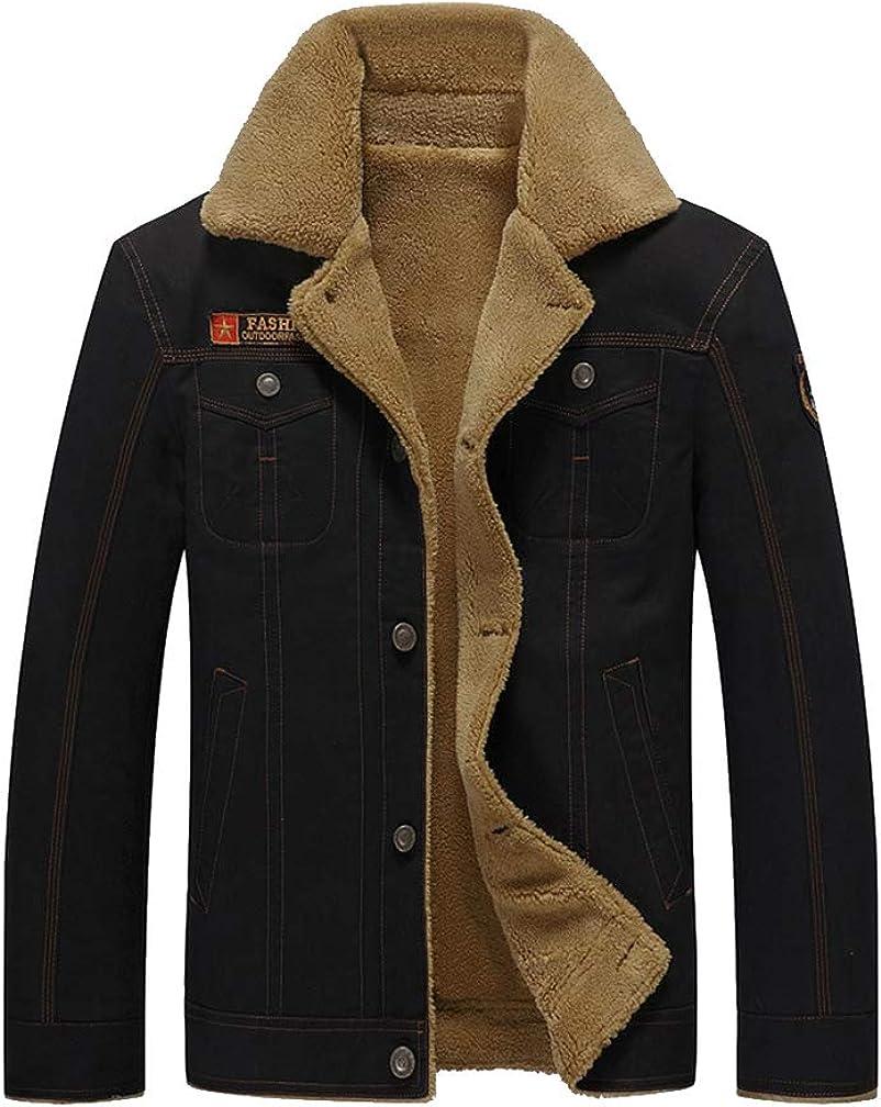 PASOK Men's Fleece Bomber Jacket Winter Military Coat Casual Stand Collar Cotton Cargo Outwear
