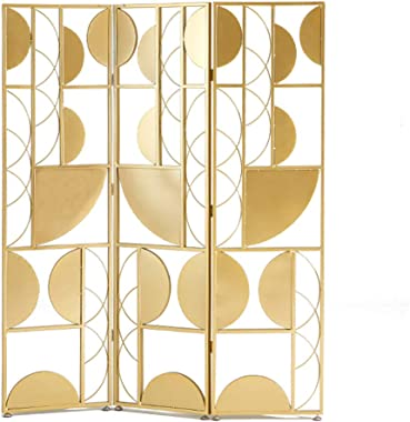 Even Metal 3-Panel Gate Room Divider,Creative Geometric Design,Gold Luxury Screen Partition,Metal Wrought Iron