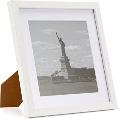 ONE WALL Tempered Glass Square 11x11 inch Photo Picture Frame with Mat for 8x8 inch Photo White Wooden Frame for Wall and Tabletop - Mounting Hardware Included