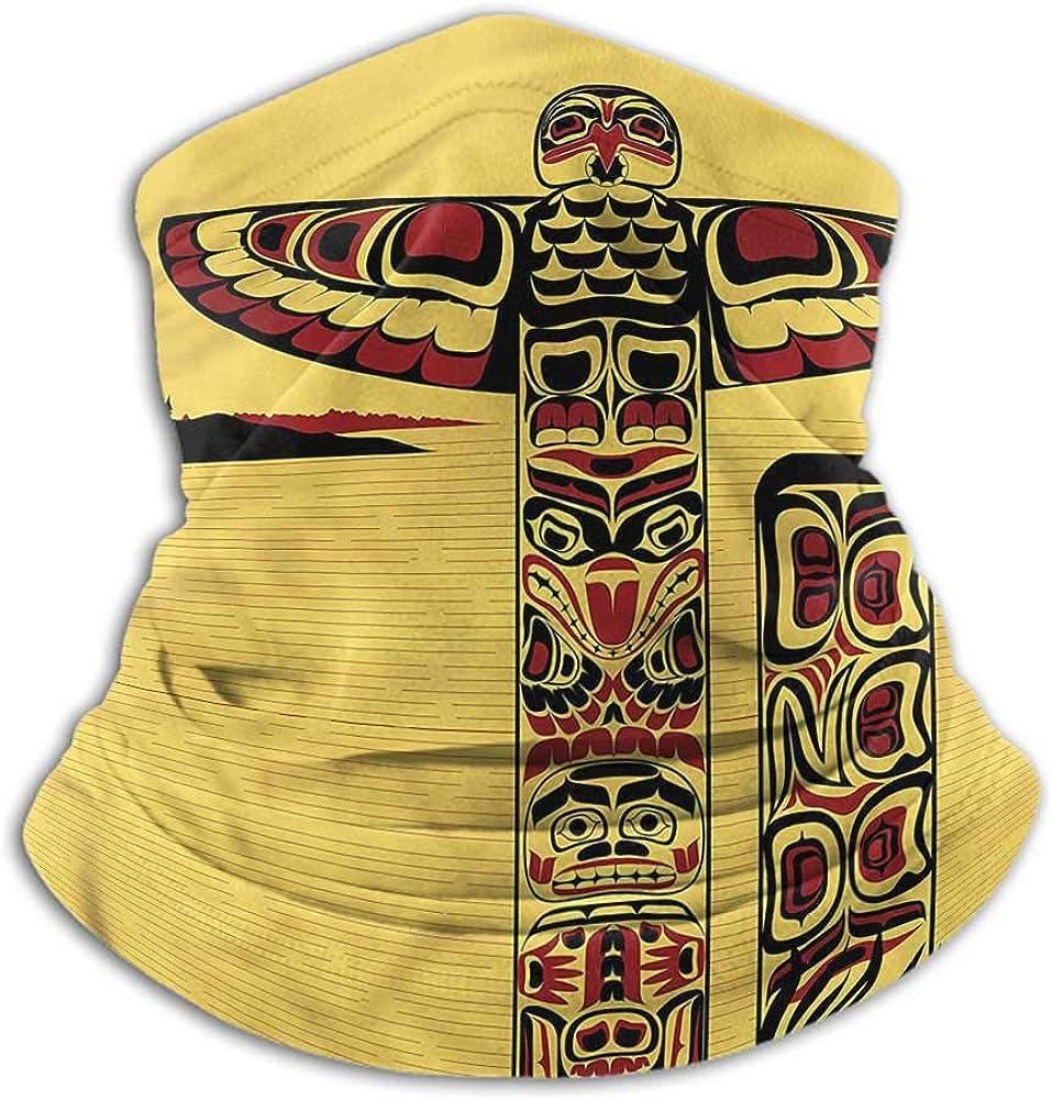 Neck Gaiters For Men Native American For Men Women Outdoors/Festivals/Sports Totem Pole Retro 10 x 12 Inch