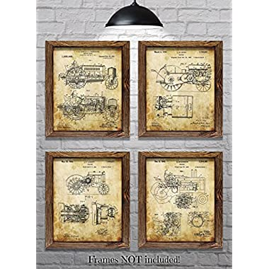 John Deere Gifts for Tractor Lovers! - Set of Four 8 x10  John Deere Tractor Patent Prints