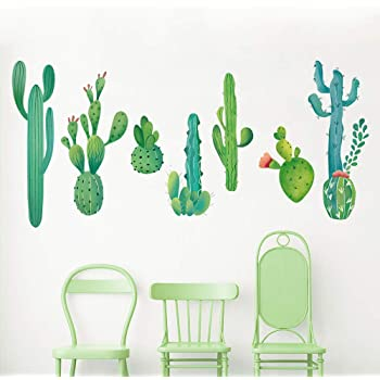 Mixed Cactus Wall Art Vinyl Decals various colours and sizes Stickers
