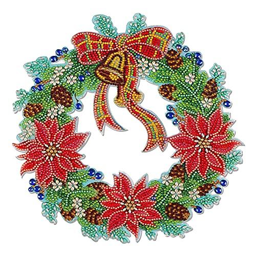 Piklodo Corona de Navidad con pintura de diamante, kit de corona de arte de diamante, DIY 5D de forma especial de diamantes de imitación de cristal para decoración de puerta de pared y ventana