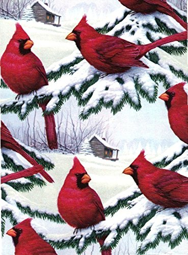 Red Cardinals Heavy Christmas Extra Wide Gift Wrapping Paper -30 In x 25 Ft Roll
