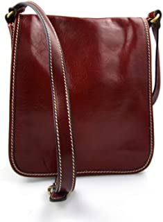Mens shoulder leather bag crossbody shoulderbag red women satchel hobo