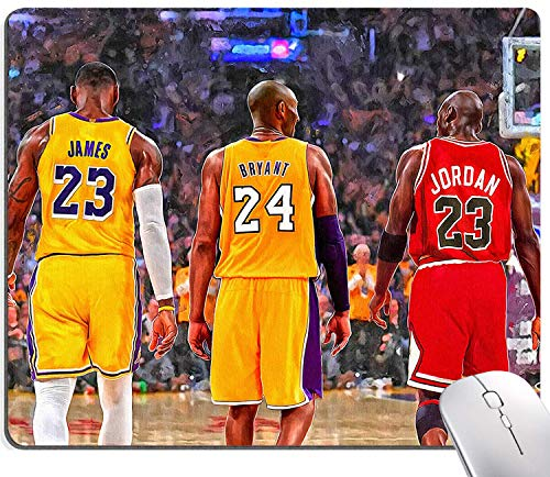 Gaming Mouse Pad,Kobe&James&Jordan Legend Poster Mouse Pad Non-Slip Rubber Base Mouse Pads for Computers Laptop Office,9.5'x7.9'x0.12' Inch(240mm x 200mm x 3mm)
