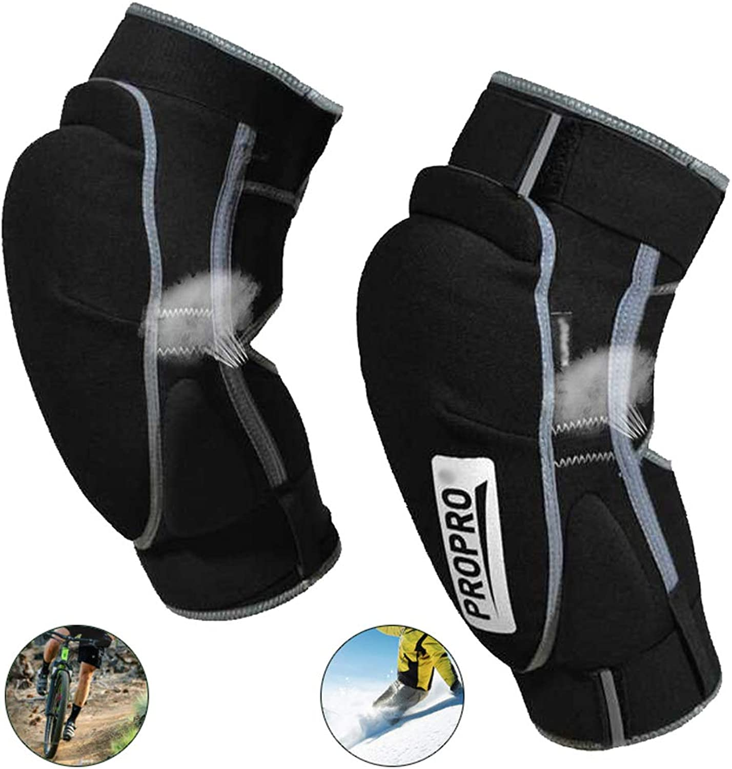 Kneepads Sports Riding Predective Gear Skiing and Outdoor Moto Ski Keep Warm Knee Pads 1 Pair,L