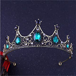 Cathercing Bridal Crown for Wedding Party Gold Rhinestone Tiara for Bride Wedding Hair Accessories for Girls Pageant Prom Halloween (green)