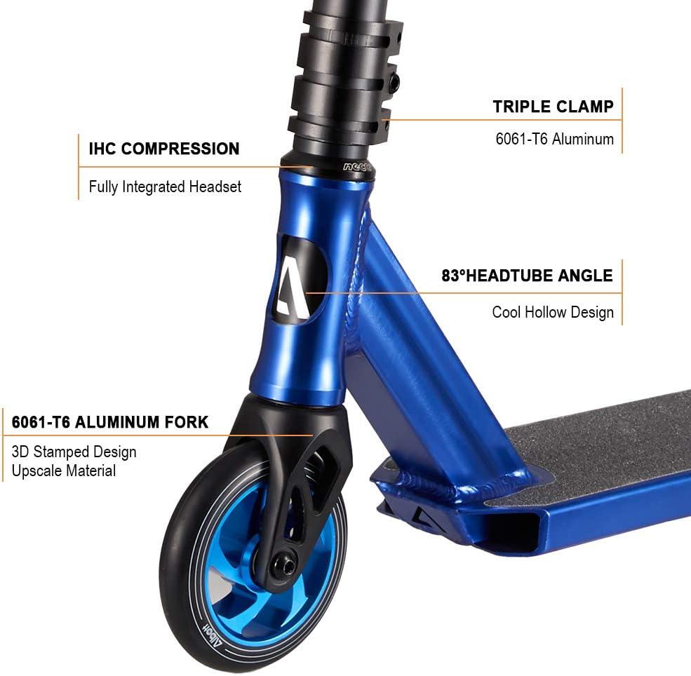 Albott Pro Scooter Stunt Scooter Freestyle Tretroller Stunt Roller mit ABEC9 Lager und 110mm ALU Kern Rollen Professional Stuntscooter Alu HIC Kompression ab 8 Jahre