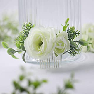Fangsen Wedding Rose Flower Crown Bridal Floral Headpiece Woodland Wedding Hair Accessories for Women and Girls (Flower Comb)