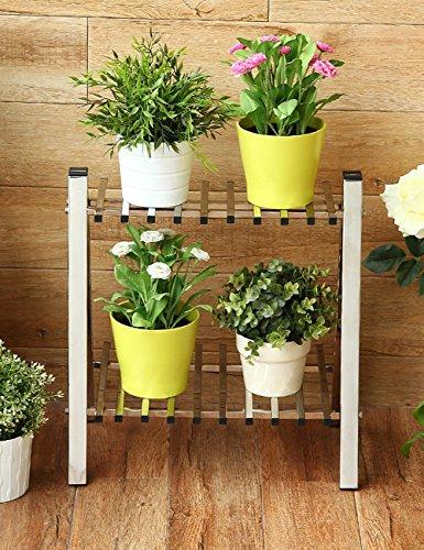 Étagères à fleurs polyvalentes Acier inoxydable trapèze Flower Rack Rack Salon Cadre de coin Style de plancher Fleur Racks Etagères Balcon Pour intérieur et extérieur