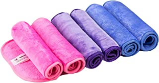 Natwag Makeup Remover Cloth 6 Pack -Reusable Microfiber Cleansing Towel,Suitable for All Skin Types,Move Makeup Instantly,Multiple Colours(6 pack)