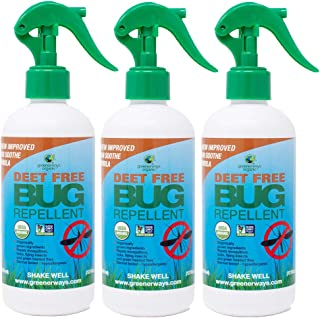 Greenerways Organic Natural Bug Spray, Insect Repellent, USDA Organic, Non-GMO, Mosquito-Repellent, Bug Repellant, Clothing Safe, Kid Safe, Pet Safe, Baby Safe, DEET-Free, Pest Control (12oz, 3 Pack)