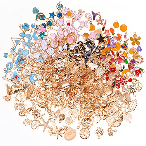 400Pcs Charms for Jewelry Making Enamel Bracelet Charms, Dyroubo Assorted Gold Plated Bangle Charms, Mixed Bulk Metal Earring Charms, Necklace Bracelet Charms for DIY Jewelry Making and Crafting