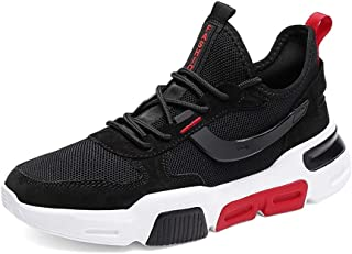 XUJW-Shoes, Athletic Shoes for Men Mesh Upper Summer Cozy Breathable Casual Fashion Sneakers Running Lightweight Anti-Slip Flat Lace Up Walking Travel Classic (Color : Black, Size : 8.5 UK)