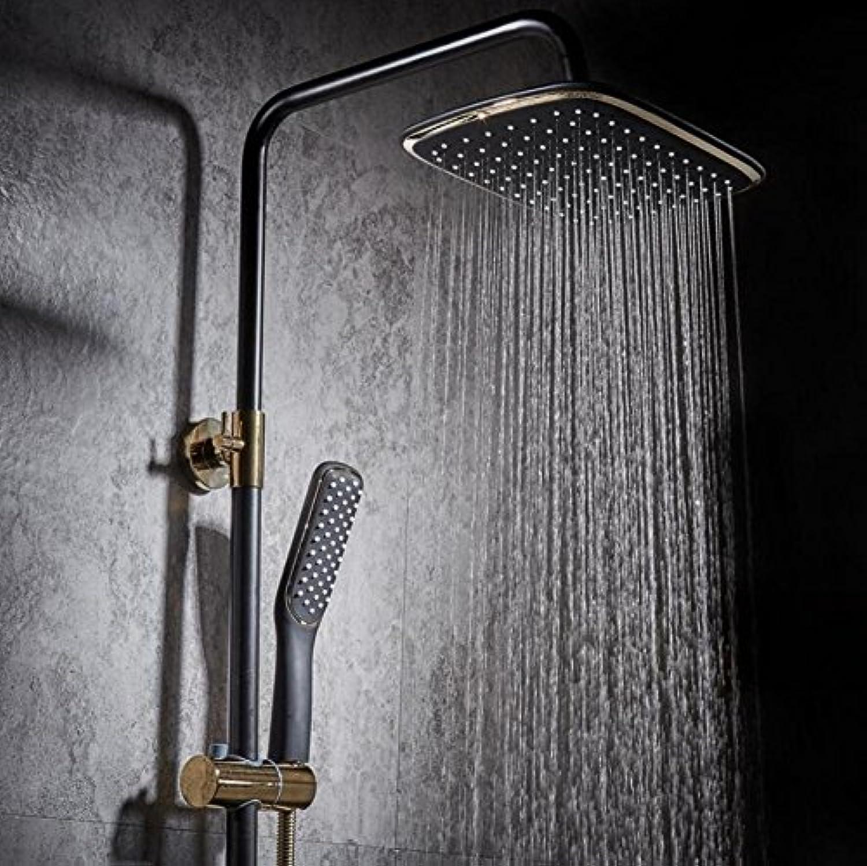ZHFC Duschsysteme mit Handbrausen Kupfer-Schwarz-Dusche-Set-Taste Vier-Wege-Düse Einstellbarer Regenfall Wasserfall Duschkopf