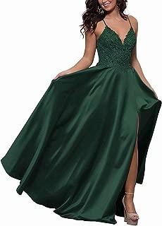 DDBridal Women's V-Neck Satin Applique Beaded Long Prom Dress Spaghetti Straps Cross-Back Formal Evening Gown with Pockets