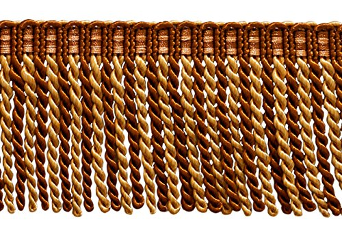 For Sale! DÉCOPRO 27 Yard Package of 3 Inch Long Bullion Fringe Trim, Style# DB3 - Brown, Light Gol...